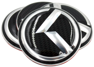 "LODEN Carbon/Stainless Metal Skin ""K"" Overlay Wheel Cap Emblems - Set of 4"