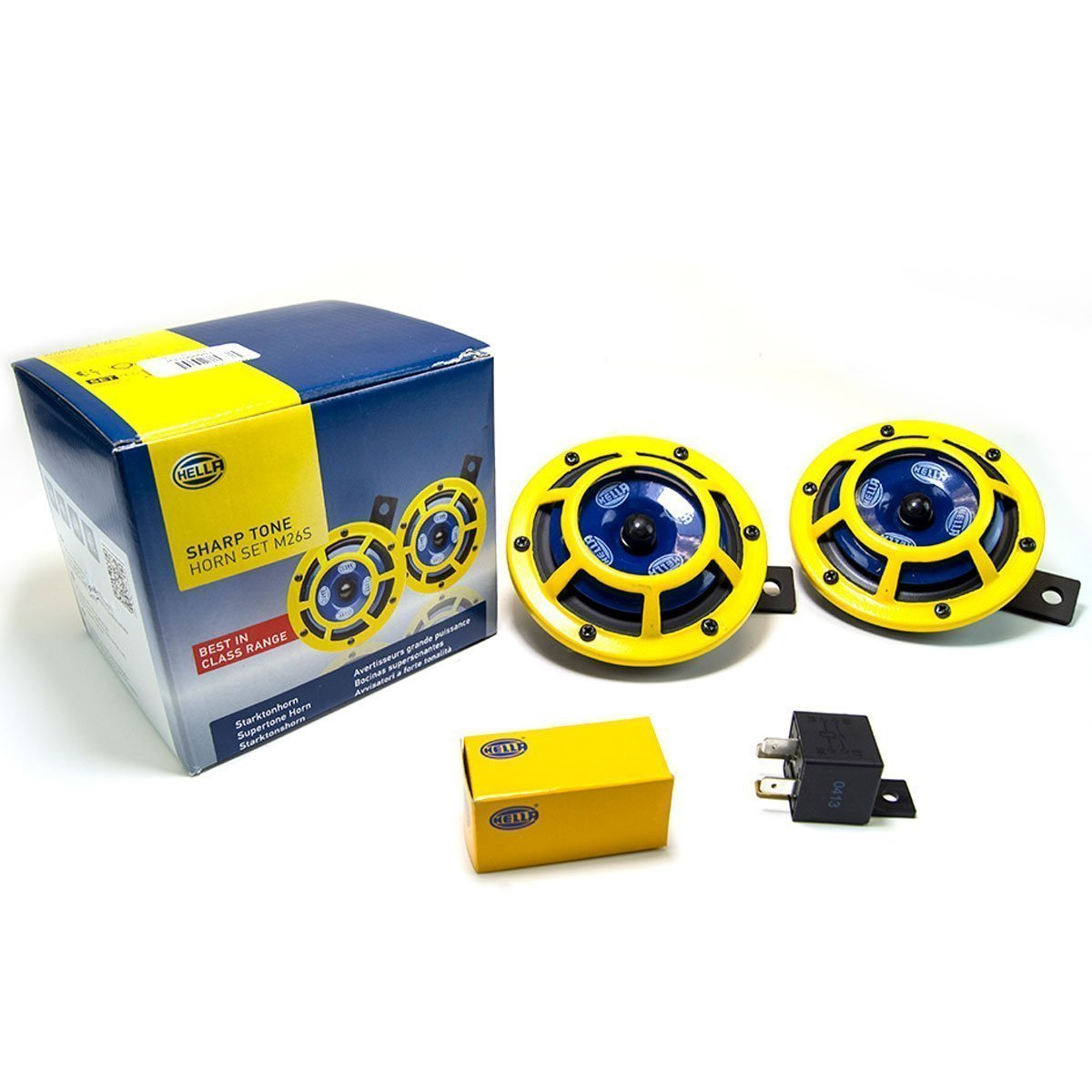 Hella - Sharptone Horn Kit 12V 415/350Hz - Pair of 2 - YELLOW - UNIVERSAL - H31000001