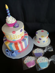 Cupcake, Stripes, and Dots Cake, Smash Cake, Cupcake Cookies