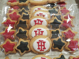 school logo and mini star cookies