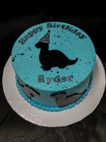 Speckled Dinosaur Silhouette Birthday Cake
