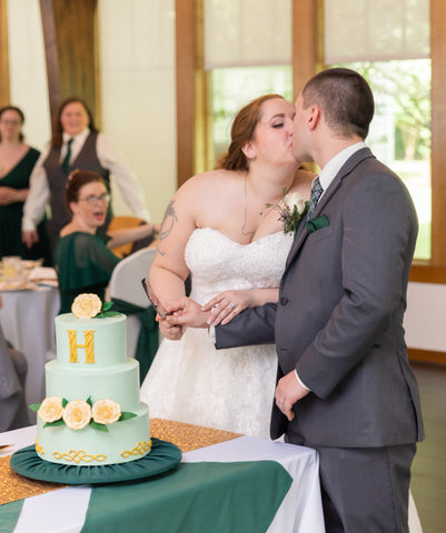 Cutting Celtic Wedding Cake