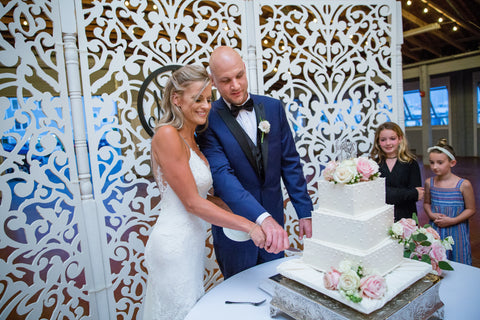 Cutting Square Wedding Cake