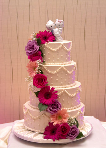 Flower Cascade Buttercream Wedding Cake
