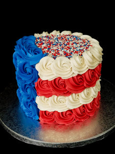 Red, White & Blue Rose & Sprinkles Cake