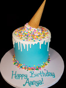 Melted Ice Cream Cone Drip Cake