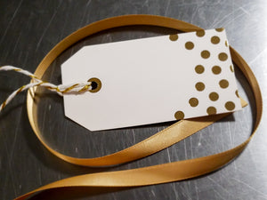 Hot Cocoa Box Gift Wrap:  Gold Ribbon, Bow, & Blank Gift Tag