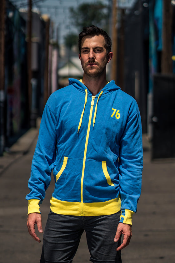 Front view of model wearing Vault 76 Hoodie
