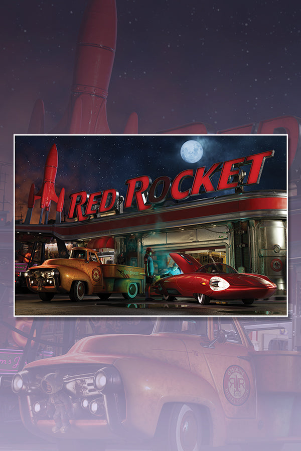 Red Rocket: Night Lithograph