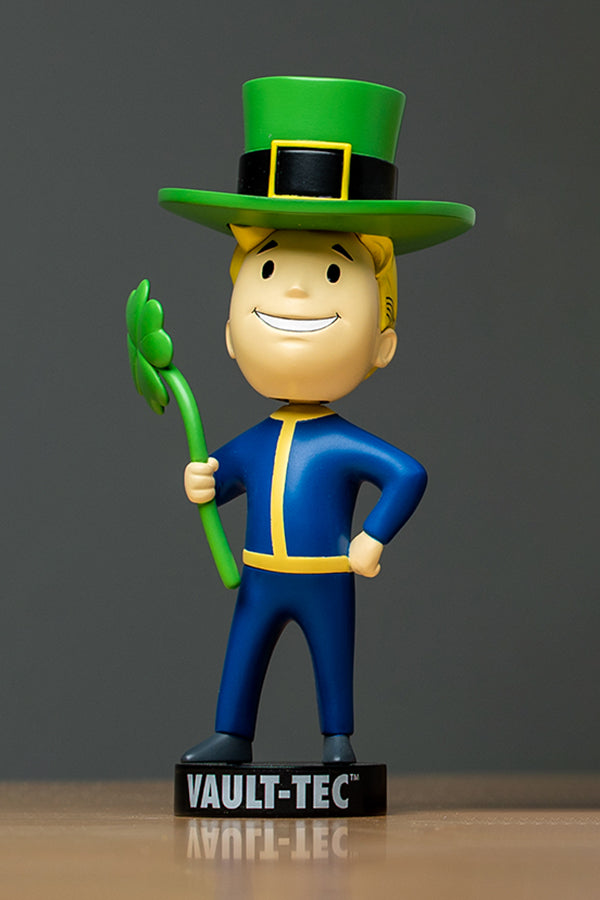 Front view of Vault Boy Luck 76 Bobblehead