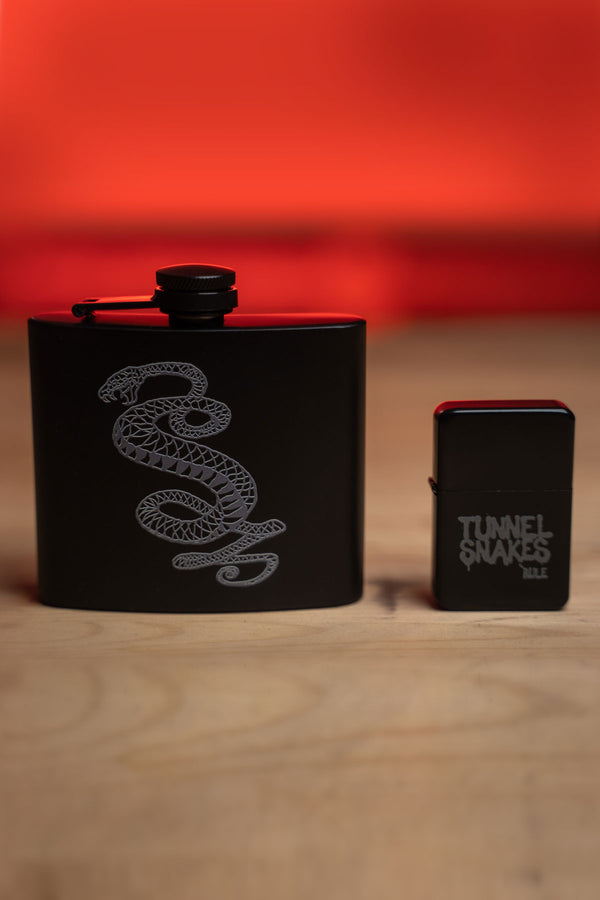 Tunnel Snakes Rule Flask & Lighter Set