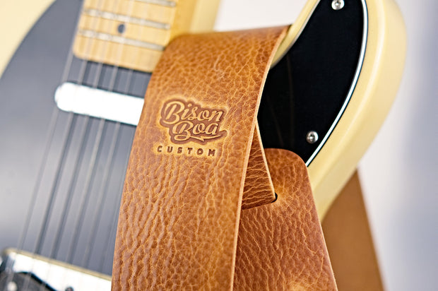 Adjustable Guitar Strap Fullgrain Cowhide Leather Stitched Acoustic//Electric Tan