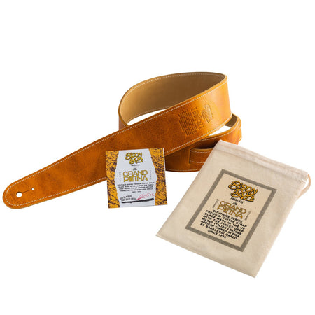 Bison Boa Boutique Series Grand Patina leather guitar strap in Honey Burst. Leather by Badalassi Carlo of Pisa, Italy.
