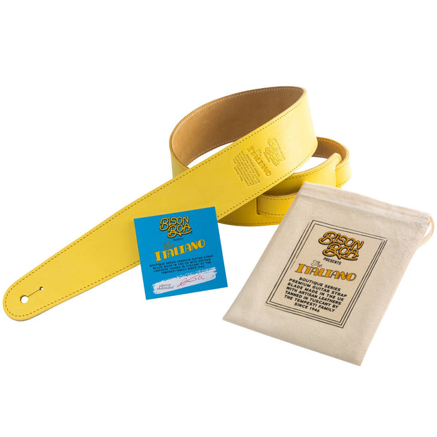 Bison Boa Boutique Series Italiano leather guitar strap in Lemon. Leather by Tempesti of Tuscany.
