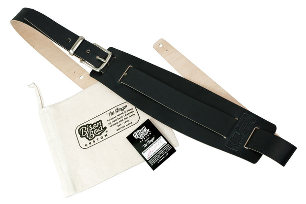 Guitar Strap - The Slinger in Midnight with packaging showing.