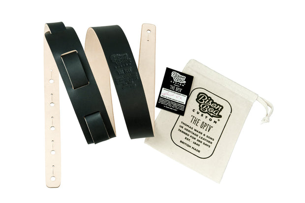 Guitar Strap - The Spiv in Midnight with packaging showing.