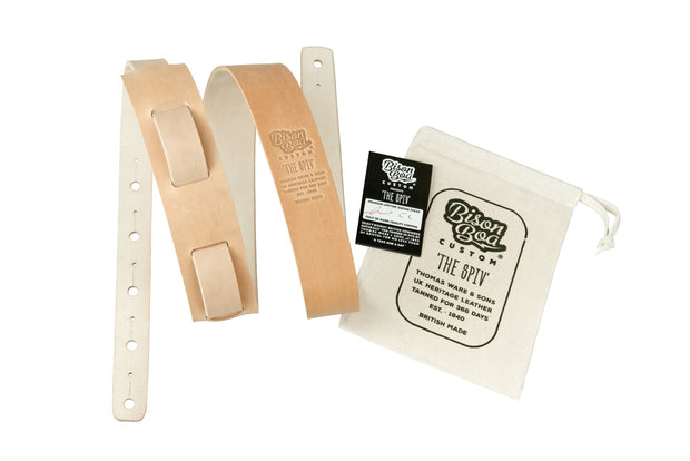 Guitar Strap - The Spiv in Natural Oiler with packaging showing.