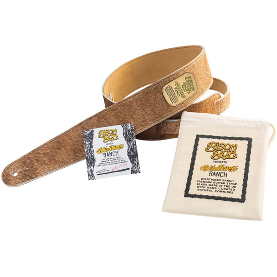 Bison Boa Wildthings Ranch Series Biscuit hairy leather guitar strap.