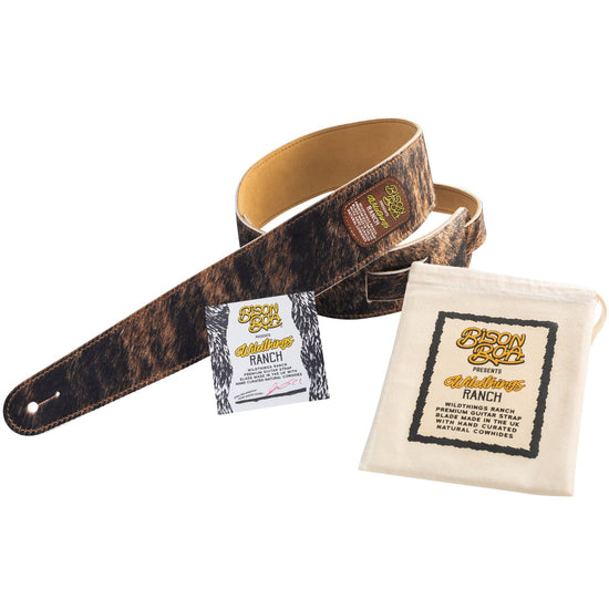 Bison Boa Wildthings Ranch Series Brindle hairy leather guitar strap.