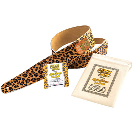 Bison Boa Wildthings Safari Series Big Cat hairy leather guitar strap.
