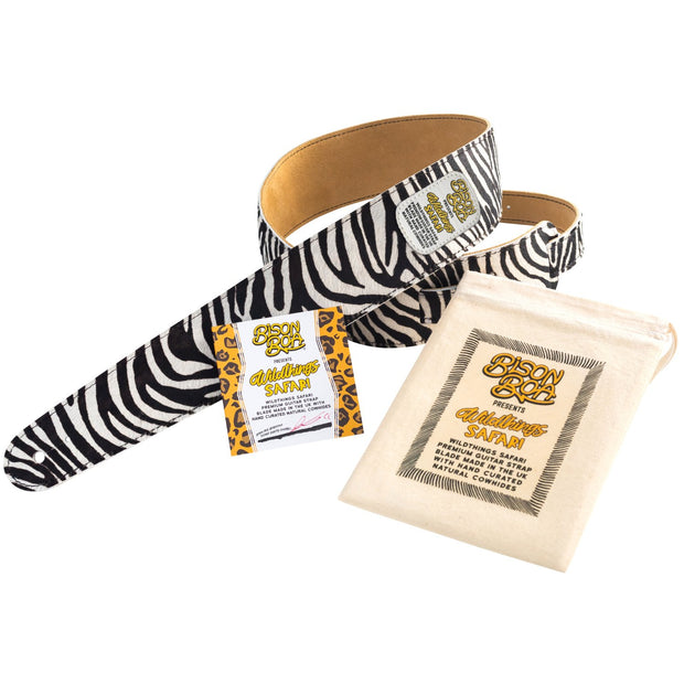 Bison Boa Wildthings Safari Series Zebra hairy leather guitar strap.