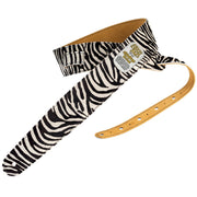 Bison Boa Wildthings Safari Series Zebra hairy leather guitar strap folded over.