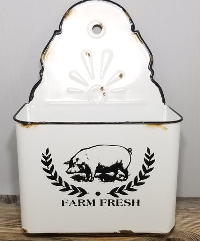 "12.5"" Distressed Farm Fresh Wall Bin - Treehouse Gift & Home"