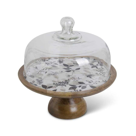 12.75 Inch Wooden Cake Stand with Black & Gray Botanical Enamel - Treehouse Gift & Home