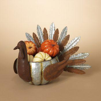 "18 ""L Metal Turkey W/ Pumpkin - Treehouse Gift & Home"