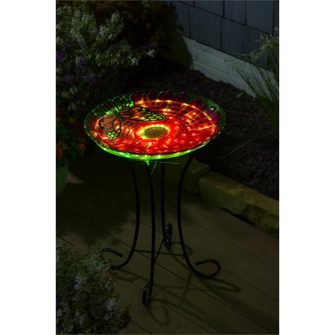 "18"" Solar Hand Painted Embossed Glass Bird Bath with Stand, Butterfly - Treehouse Gift & Home"