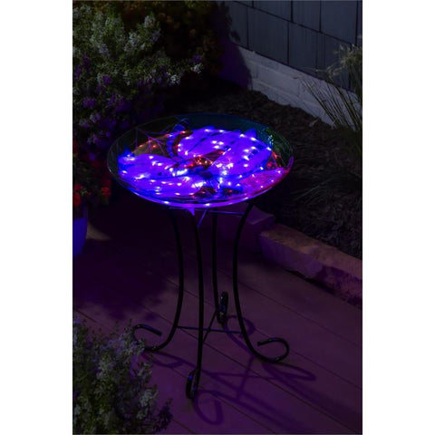 "18"" Solar Hand Painted Embossed Glass Bird Bath with Stand, Dragonfly Duo - Treehouse Gift & Home"