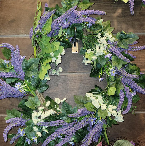 "22""  LAVENDER & WILDFLOWER WREATH RAZ Imports"