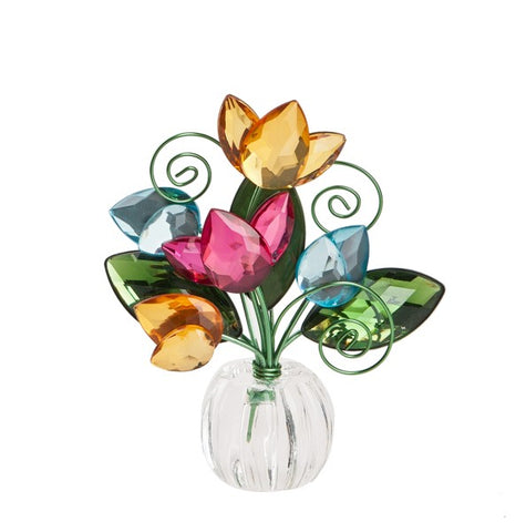 5 Flower Tulip Posy Pots - Orange/Teal Ganz