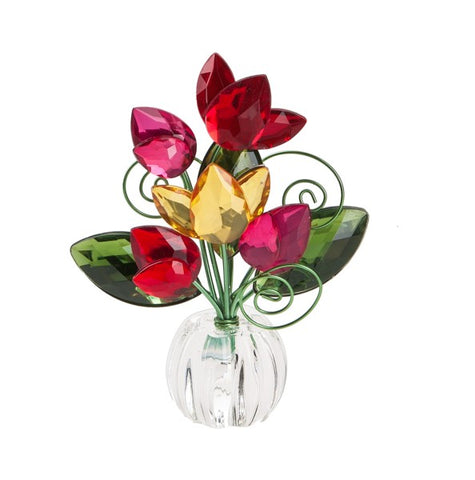 5 Flower Tulip Posy Pots - Red/Orange Ganz