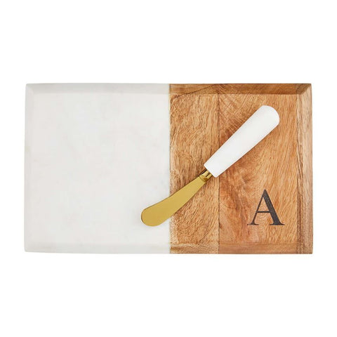 A Initial Marble & Wood Board Set Mud Pie