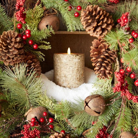BIRCH MOVING FLAME PILLAR CANDLE - Treehouse Gift & Home