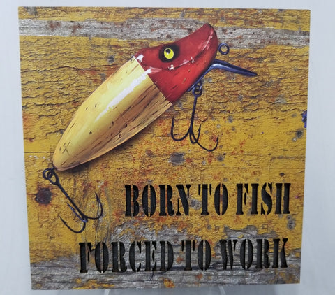 Born to Fish LED Box  6 X 6 - Treehouse Gift & Home