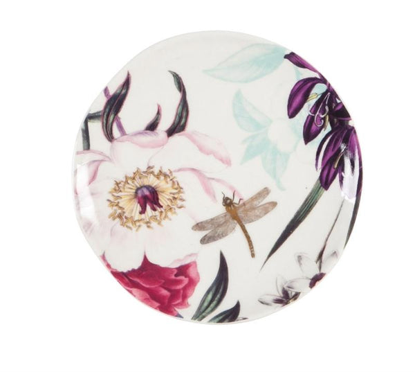 Ceramic 6 Appetizer Plate W Caddy Vivid Bouquet Treehouse Gift Home