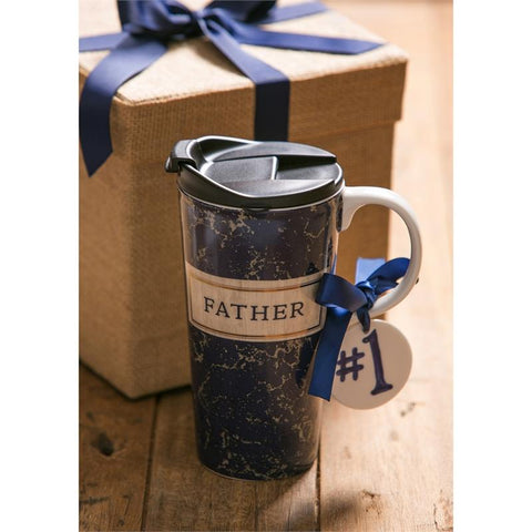 Ceramic Travel Cup: #1 Father - Treehouse Gift & Home