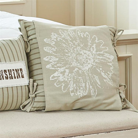 "Cream Flower Print 20"" Pillow Set - Polyester Fill - Treehouse Gift & Home"