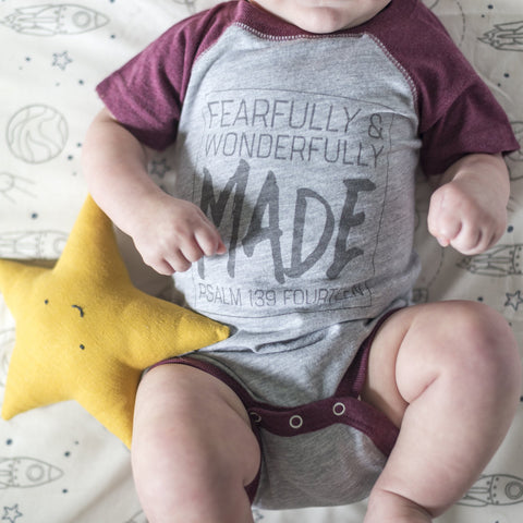Fearfully & Wonderfully Made Baseball Onesie in Burgundy - Treehouse Gift & Home