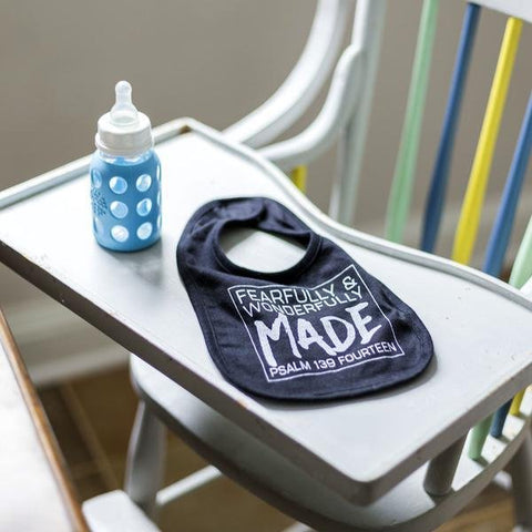 Fearfully & Wonderfully Made Bib in Black - Treehouse Gift & Home