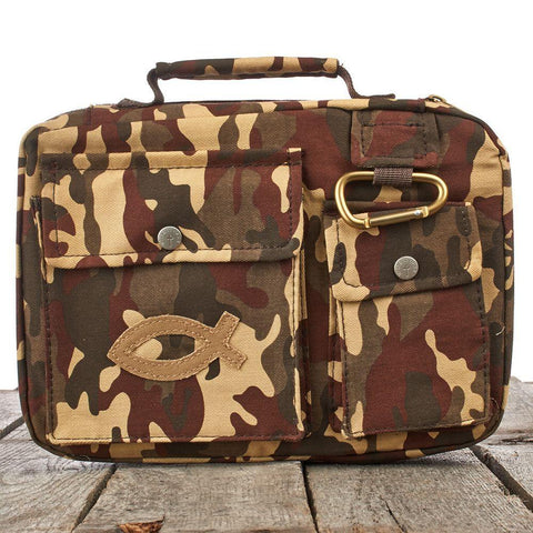 Fish Emblem in Brown Camouflage Bible Cover - Treehouse Gift & Home