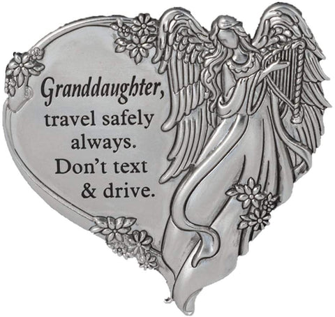 Granddaughter, Travel Safely Always. Don't Text and Drive. Visor Clip - Treehouse Gift & Home