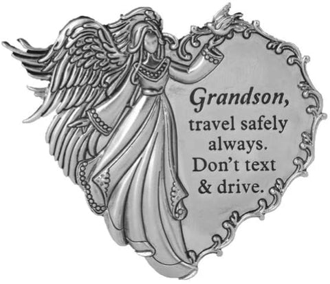 Grandson, Travel Safely Always. Don't Text and Drive. Visor Clip - Treehouse Gift & Home