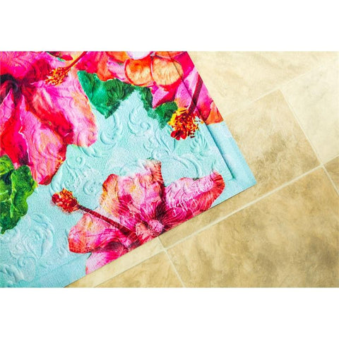 Hummingbird and Hibiscus Embossed Floor Mat - Treehouse Gift & Home