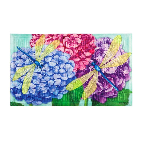 Hydrangea Dragonflies Embossed Floor Mat - Treehouse Gift & Home