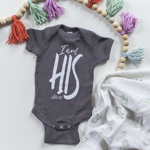 I Am His Onesie in Charcoal - Treehouse Gift & Home