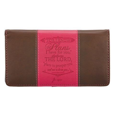 I Know the Plans in Pink & Brown - Jeremiah 29:11 Checkbook Cover - Treehouse Gift & Home