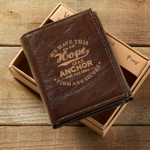 Leather Wallet: Hope as an Anchor Tri-Fold in Brown - Hebrews 6:19 - Treehouse Gift & Home